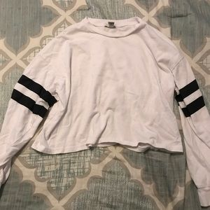 Jersey stripe forever 21 cropped long sleeve tee